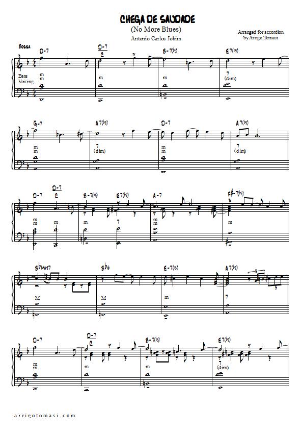 Piano easy piano blues sheet music : Chega de Saudade (No More Blues), Accordion sheet music