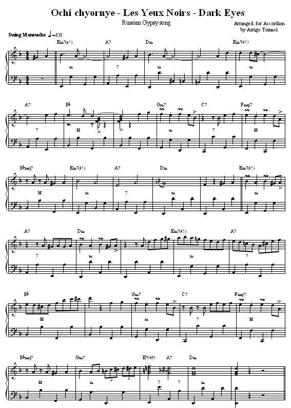 Les Yeux Noirs - Dark Eyes - Ochi Chornye, Accordion sheet music